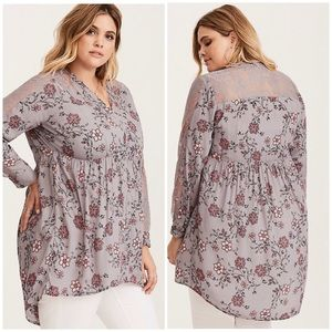 NWT Torrid Floral and Lace High Low Tunic